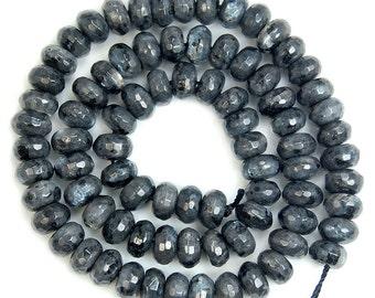 Rondelle, gemstone rondelle, gemstone beads, 8 mm beads, faceted beads, faceted rondelle, larvikite, rare, gray beads, black beads, 10 pcs,