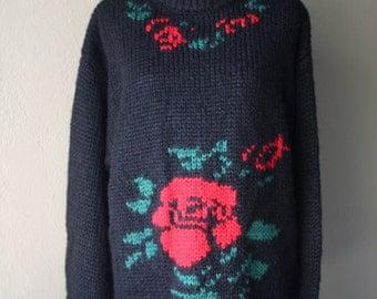 Vintage Oversized Rose Print Knit Sweater