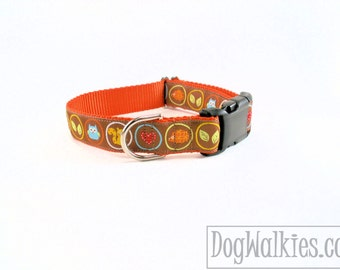 "Forest Friends - Fall Dog Collar - 1"" wide (25mm) - Martingale or Quick Release - Choice of style and size // orange // brown // fall colors"