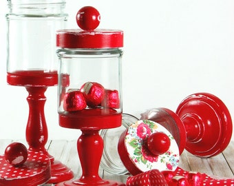 Apothecary jars set - pedestal - glass - polka dots -  roses - red - decoupaged - handmade - in decorative box