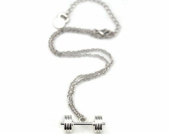 Olympic Barbell Necklace in Silver CFJ0007