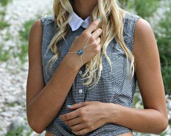 Blue opal slave bracelet in silver, opal hand chain, ring bracelet, slave ring, unique bracelet, opal ring