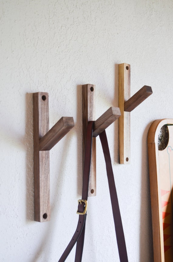 TWO Reclaimed Black Walnut Wall Hooks Modern Minimalist