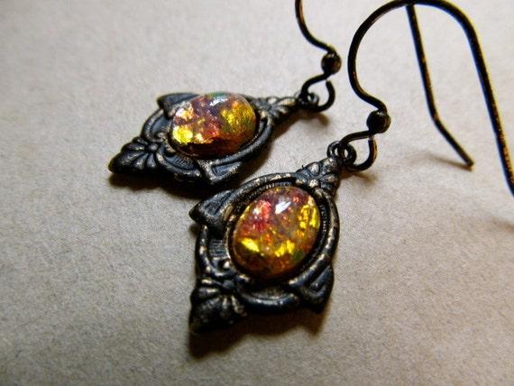 Priscilla- Vintage Pink Fire Opal Earrings Brass Art Nouveau Deco earrings