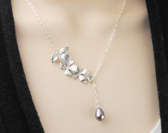 Pearl Bridesmaid Necklace - Silver Flower Necklace - Mauve Lavender Swarovski Pearl Drop Necklace - Bridesmaid Jewelry - Wedding Jewelry