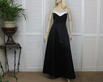 Vintage Gown Black and White Satin Evening Gown Size 9/10 Rhinestone Detail