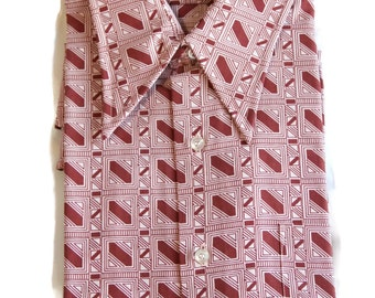 70s Shirt / Deadstock / Mod / Geometric / Kings Road / Sears / Gift for Him