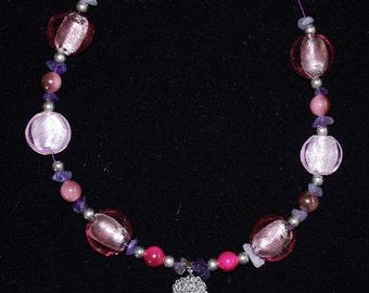 NECKLACE, Purple, Pink, MURANO Glass Beads, Amethysts, OOAK,  Elegant, Fancy, Feminine, Gorgeous, Awesome, Harmonic