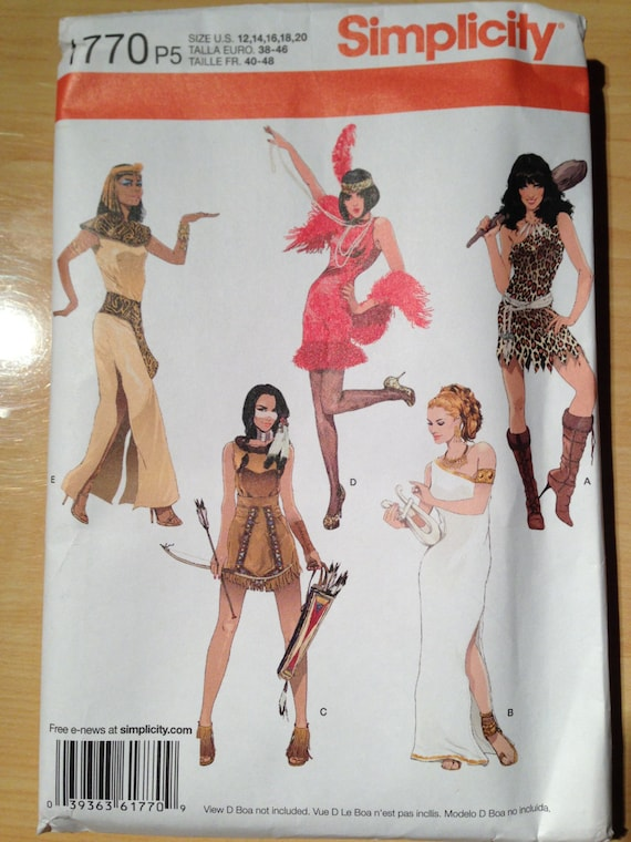 Simplicity 1770 Misses Sexy Cleopatra, Flapper, Barbarian, Indian and Roman Goddess Costume Sewing Pattern  Size 12-20 Uncut