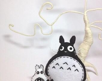 Felt Totoro, black totoro, totoro plush, totoro decor, studio Ghibli, woodland creature, anime toy, kawaii totoro, forest spirit, geeky gift