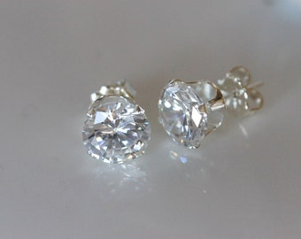 2 carat faux diamond | large diamond cubic zirconia stud earrings | post earrings | sterling silver studs | bridesmaid gift | by girlthree
