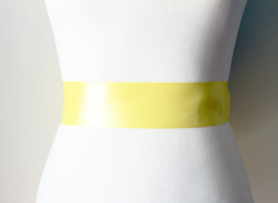 2 Inch Wide Double Faced Ribbon Sash Belt - Bridesmaid Bridal Flower Girl Sashes Belts - Wedding Dress Party Dress - Lemon Yellow