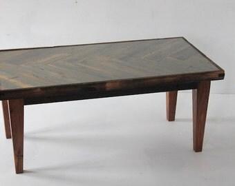 Coffee Table - Glass Top - Herringbone - Reclaimed Wood - 37x19x16 - Rustic Industrial Living Room
