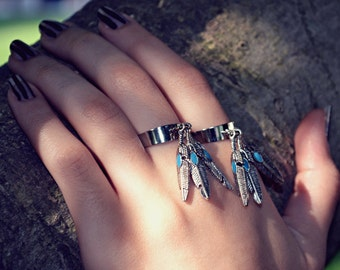 Feather Charm Ring