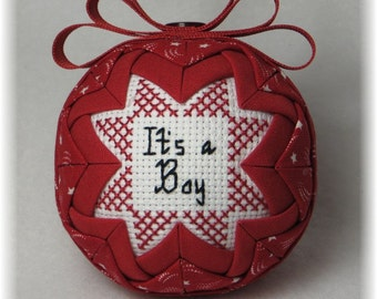 Quilted Ornaments - It's A Boy, Train Theme Ornament