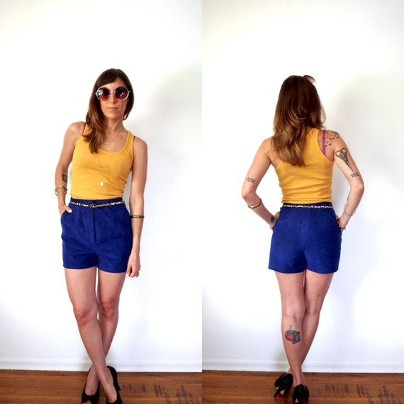 80's Electric Blue High Waisted Shorts Faux Suede 28
