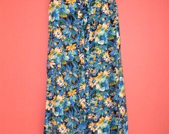 M L Medium Large Volup Vintage Dress 70s Maxi Blue Yellow Floral Print Sleeveless Summer Spring Hippie Festival Hipster Hostess Housedress