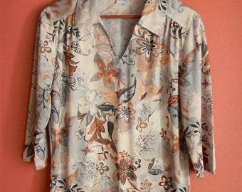 Vintage Haband Floral Print Brown Grey Watercolor Print 3/4 Sleeves M L Medium Large Blouse Shirt