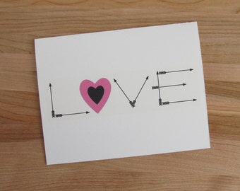LOVE + cupid's ammo - Romantic Birthday, Valentine, Anniversary Card for Him or Her (more color options available)