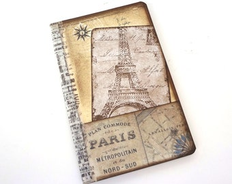 Paris Travel Journal, Paris Notebook, Eiffel Tower Journal, Paris Map Journal, Parisian, Mini French Journal, Collage Diary