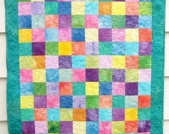 Patchwork Baby Quilt, Unisex Crib or Cot Quilt, Wall Hanging in Aqua with Pastel and Bright Hand Dyed Cottons