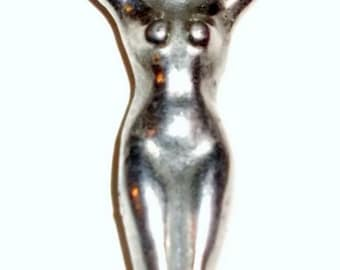 Vintage Collectible Female NUDE  Silver Colored BOTTLE OPENER circa 1950s