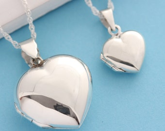 Heart Lockets. Mother Daughter Locket Necklace, Truly keepsake 925 Sterling Silver Heart locket, Large and Small locket. R-19 - 17