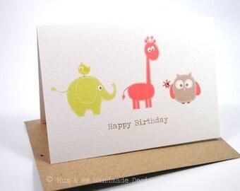 Birthday Card Girl - Animals - Giraffe, Elephant and Owl - HBC125