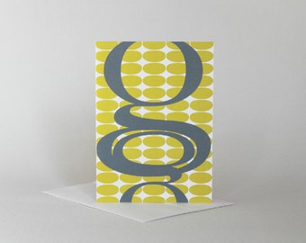 Typography Cards, Letter Cards, Boxed Card Set, Yellow and Gray Alphabet Cards, Modern Monogram Print, Gift For Graphic Designer
