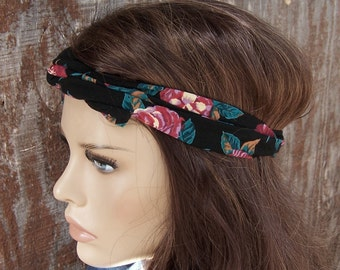BLACK FLORAL HEADBAND Printed Wire Tie Dolly Bow Hair Wrap Head Wrap Hippie Hair Scarf Bohemian Grunge Floral Rayon Print Vintage Fabric