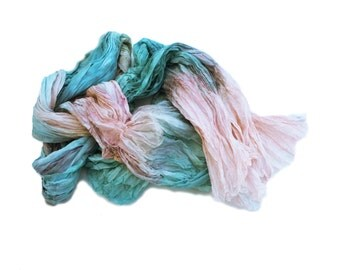 peach silk scarf Sweet Juliet -  turquoise, green, mint, peach, coral silk ruffled scarf.
