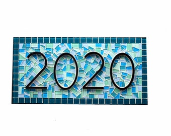 Mosaic House Number Sign In Teal Aqua and Blue
