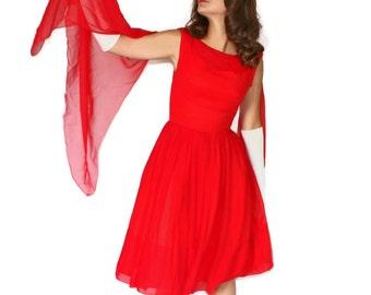 50s  Red Chiffon Dress. Party Dress. Cupcake Dress. Holiday fashion. Wedding Bridesmaid. Mad Men Fashion. Prom Dress. Valentine's Dress