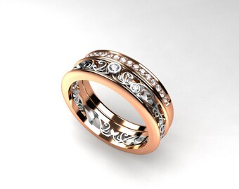 engagement ring set, Filigree ring, diamond wedding band, filigree engagement, Rose gold, pave, diamond eternity, two tone, yellow gold ring