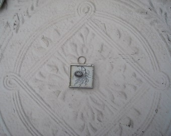 Soldered Glass Pendant/Charm - Bird Nest