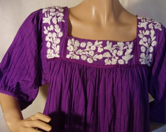 vintage Mexican Folk Embroidery Dress, Purple Dress