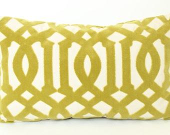 Schumacher Imperial Trellis Velvet Lumbar Pillow Cover in Chartreuse