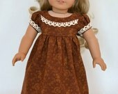 American Girl 18 Inch Doll Dress Historical Regency Era Empire Caroline - Brown