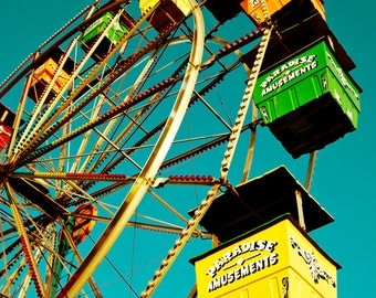 Carnival Photography, Carnival Art, Ferris Wheel Photo, Carnival, Fair, Retro, Midway Ride, Retro Fair Ride, Carnival Photography Print
