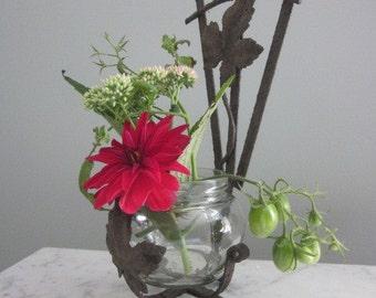 Shabby Chic Handmade Ivy Leaf Wrough Iron Vase Holder.