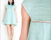 70s VINTAGE Pastel Green Crochet Knit Boho Festival Babydoll Mini Dress Small / Babydoll vintage dress / Retro Smock Dress / Boho Dress