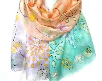 Pastel Scarf. Silk Scarf. Rainbow Silk Scarf. Hand Painted Silk Shawl. Genuine Silk Art. Woman Anniversary Present. 18x71in MADE to ORDER