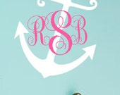 "Large 23"" x 29"" Nautical Anchor Monogram Vinyl Wall Art Decal"