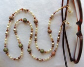 EYEGLASS CHAIN  Unakite  Pearls  Czech Glass Beads