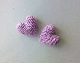 Amigurumi Crochet Light Damson Heart (Set of 2) - Cake topper - Wedding table decor - Birthday party decoration