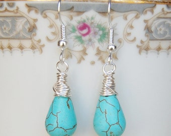 Turquoise Earrings , Light Blue Silver Earrings , Wire Wrapped Dangle Earrings , December Birthstone