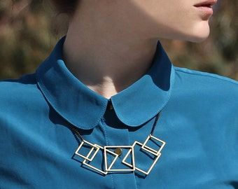 My Squares Necklace - Gold Geometric Necklace