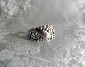 Spoon Ring Forget Me Not Flower Sterling Floral Small Delicate Spoon Ring Symbolic of Remembrance