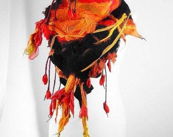 Wool Scarf Designer Scarf Felted Scarf Wrap Nunofelt Scarf Wool Scarf BEDOUIN BEAUTY Wild Wrap Artistic Scarves Felt Nuno felt Silk boho