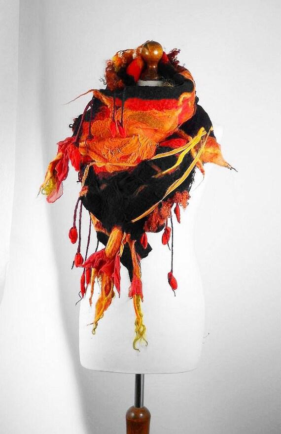 wool scarf designer scarf felted scarf wrap nunofelt scarf